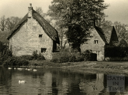 The duck pond, Biddestone, 1950s