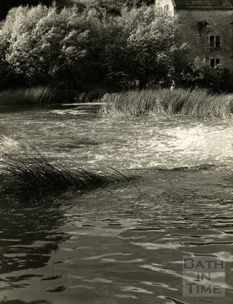 The weir and mill at Avoncliff, 1952
