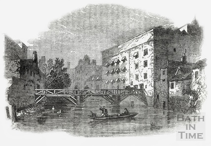The Northgate Brewery and bridge, Bath, 1860