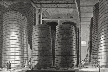 View of the interior of Messrs George Pinchin & Company's new VAT Rooms at the Northgate Brewery, Bath c.1855?