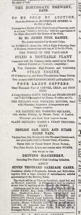 Sales Particulars of the contents of the Northgate Brewery, Bath March 1869