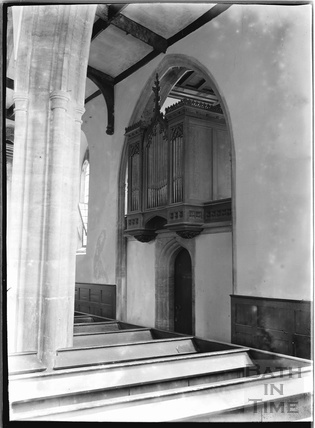 Inside church of St Peter and St Paul, Mulchelney. Near Langport, Somerset, c.1930s
