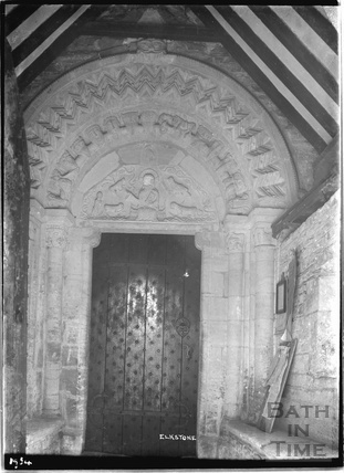 Norman Doorway, St John the Evangelist church, Elkstone, Gloucestershire, 1934