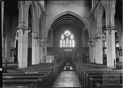 Inside All Saint's church, Wrington, North Somerset, June 1935