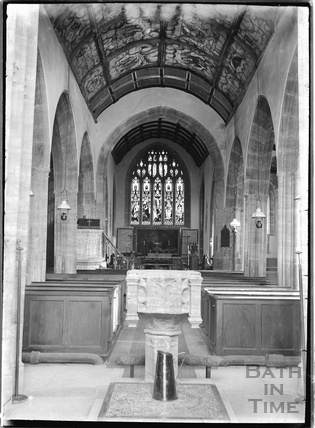 Inside church of St Peter and St Paul, Mulchelney. Near Langport, Somerset, c.1930s