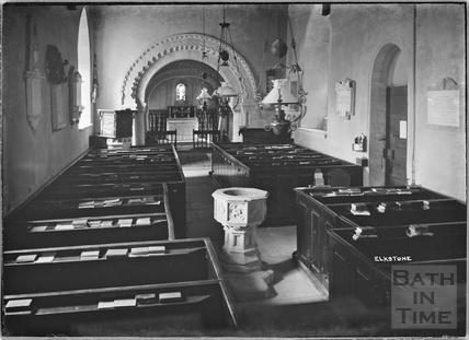 Inside St John the Evangelist church, Elkstone, Gloucestershire, c.1934