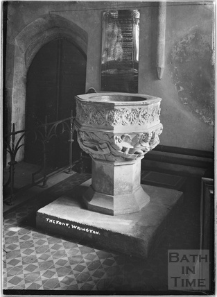 Font, All Saint's church, Wrington, North Somerset, June 1935