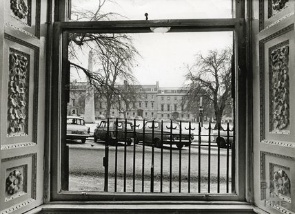 View through a window on the west side of Queen Square in winter  1966