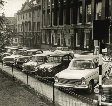 A lovely collection of 1960s cars parked on the west side of Queen Square c.1966