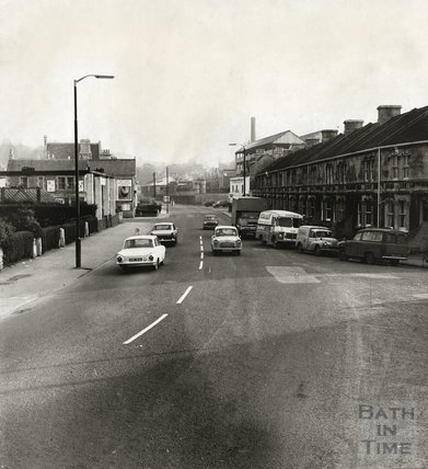 The Upper Bristol Road, looking east towards the gasworks at Windsor Bridge 1960s