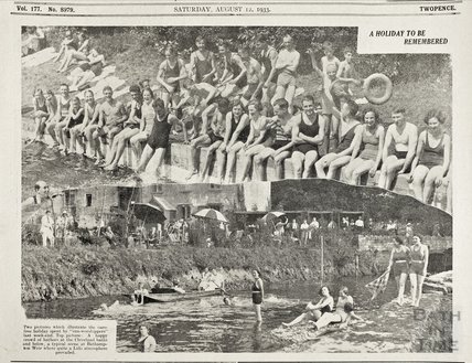 A sunny Bank Holiday Weekend, Cleveland Baths and Bathampton Weir, 12 August 1933