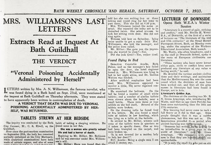 Inquest into the death of novelist Mrs A.M. Williamson, October 7, 1933