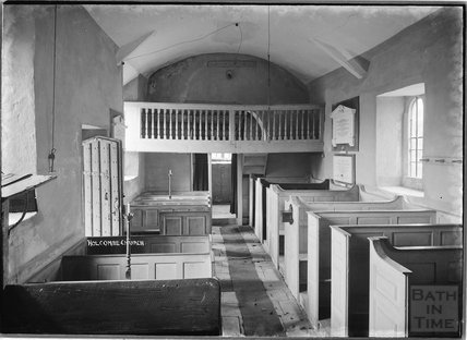 Inside St Andrews Old Church, Holcombe, near Stratton on the Fosse, Somerset, March 1938