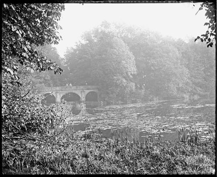 Ornamental lake and bridge, Orchardleigh, Somerset, c.1910s