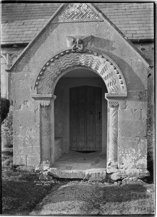 Porch, St Andrews Old Church, Holcombe, near Stratton on the Fosse, Somerset, March 1938