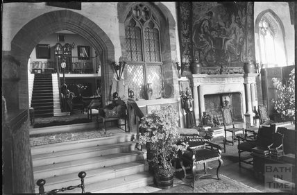 Interior view of the hall, Coker Court, East Coker, c.1920s
