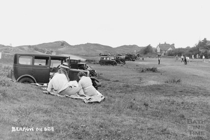 Picnicking at Berrow on Sea near Brean, Somerset c.1930 - detail