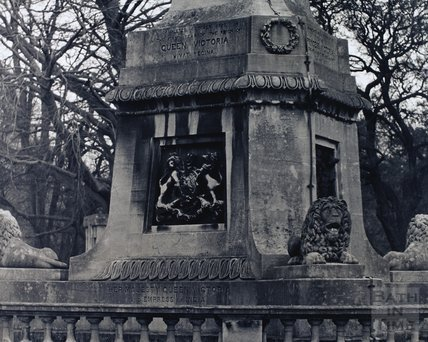 Detail from the Queen Victoria obelisk, Royal Victoria Park, pre 1973