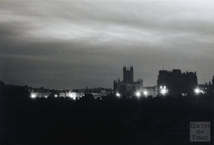 The Bath city skyline at night time, 1958