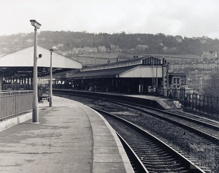 Bath Spa station platform, looking towards Bathwick, pre 1973