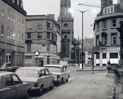 View towards St Michaels Church from the High Street pre 1973
