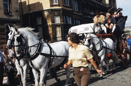 A coach and four outside the Empire Hotel, c.1970s-80s