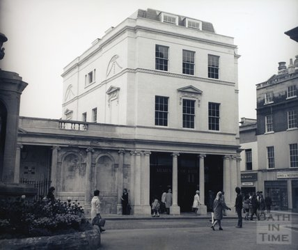 The newly-built Roman Baths shop and offices, pre 1973