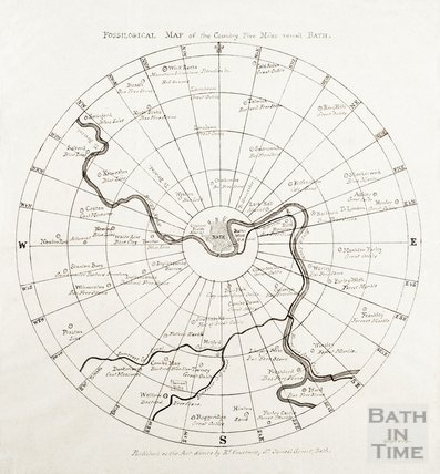 Fossilogical Map of the Country, Five Miles round Bath 1811