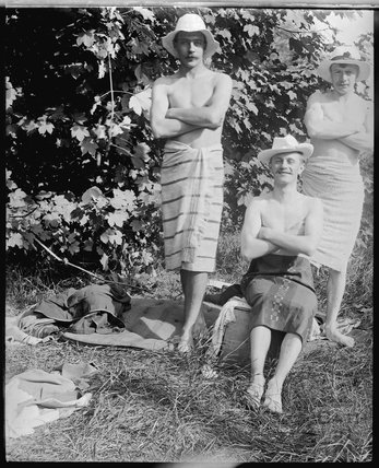 Three men with towels after a swim in the river, c.1900s