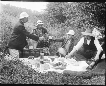 Picnicking by the river, possibly at Warleigh c.1900