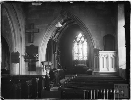 Inside St Marys Church, Claverton c.1930s