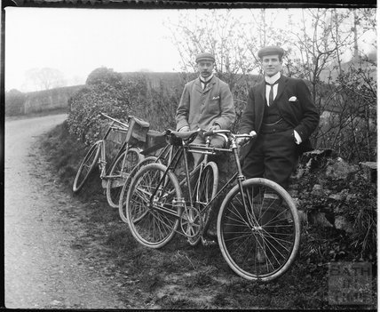 Posing on a cycling trip, possibly on the accommodation bridge at the Kennet and Avon Canal near Warleigh c.1900