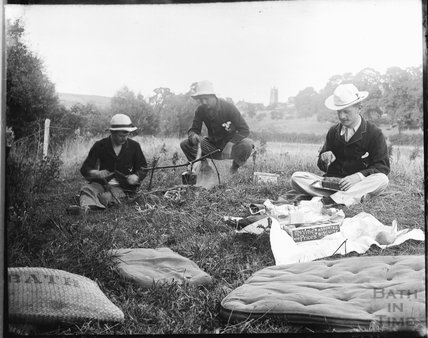 Picnic scene, possible with Bathford in the background, c.1900s