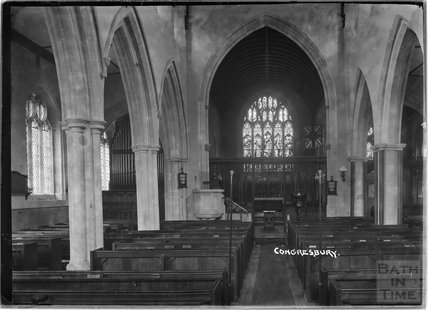 Inside Church of St Andrew, Congresbury, North Somerset c.1930s