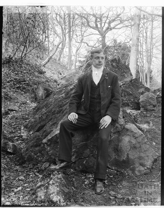 Gentleman posing, possibly at Bathampton Rocks c.1900