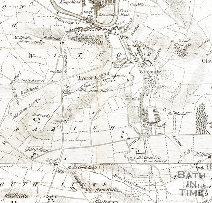 Thos Thorpe Map of 5 miles round Bath. Combe Down to the city centre 1742 - detail