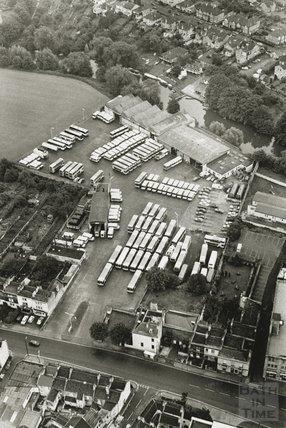 1989 Aerial view of the Kensington Bus Depot, London Road