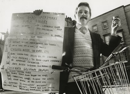 Andrew Nicholson, protester and cycling campaigner, London Road, 31 October 1992