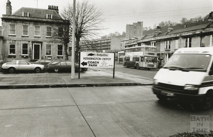 Entrance to the Kensington bus depot, London Road, February 1991