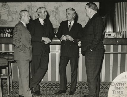 VIPs at the bar in the newly completed Beaufort Hotel, 1973
