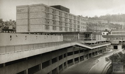 The newly constructed Beaufort Hotel, viewed from near Pulteney Bridge, November 12 1973
