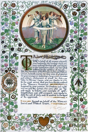 Certificate to suffragette Alice Milligan from the WSPU leader Emmeline Pankhurst c.1912