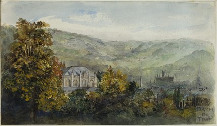 View of Bath from Somerset Place, with All saints Chapel in the foreground c.1900