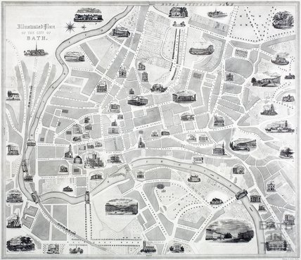 Illustrated Plan of the City of Bath, Hollway & Steel c.1862