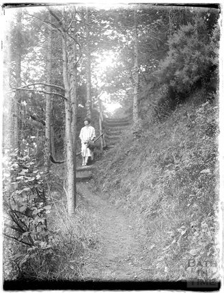 The photographer's wife Violet, probably on the way to Culbone Church, near Minehead, 1926