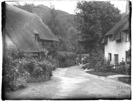 Cottages at the end of Park Street, Dunster, Somerset, 1931