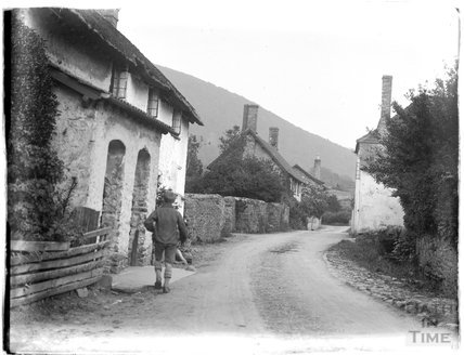 Village street, possibly in Allerford, near Minehead, 1930