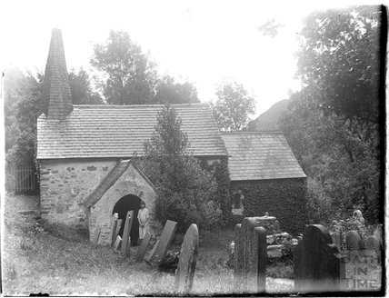 The photographer's wife Violet in the porch way of Culbone Church, near Minehead, 1926