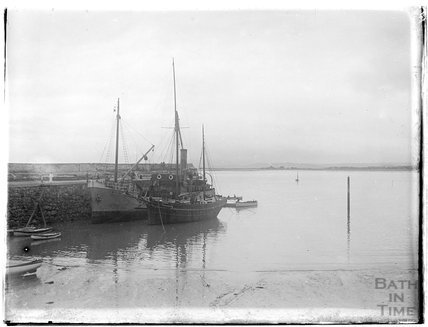 Ship at the quay, Minehead, 1926