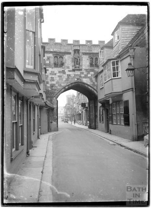 Entrance to the Walks circling Salisbury Cathedral, Wiltshire, c.1930s